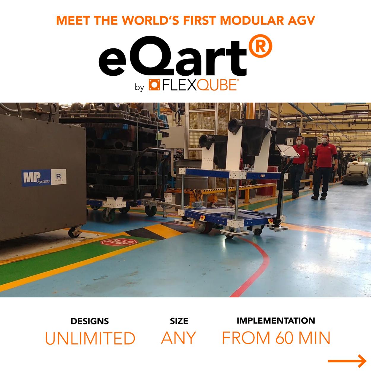 MEET THE WORLD'S FIRST MODULAR AGV, THE e Qart BY FLEXQUBE