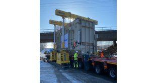 Hydra-Slide Low Profile System Skids Transformer Under Bridge and onto Foundation