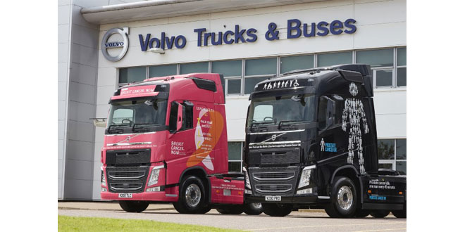 Volvo Trucks dealer launches new charity initiative with striking black and pink demonstrators