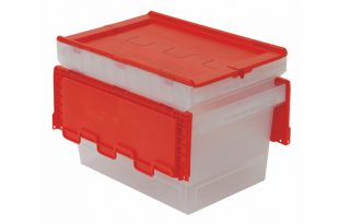 BITO translucent MB containers with coloured attached lids to help organise stock