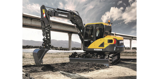 Exceptional power from the new compact Hyundai HX85A midi excavator